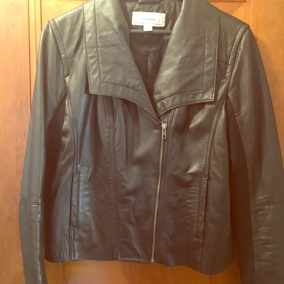 Caslon Jackets & Blazers - Caslon leather jacket w/angled zip-Great condition